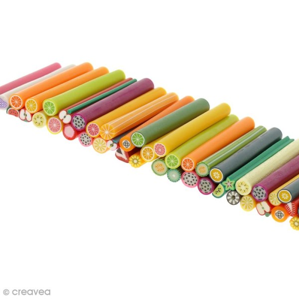 Assortiment de mini canes en pâte polymère - Fruits - 50 pcs - Photo n°3