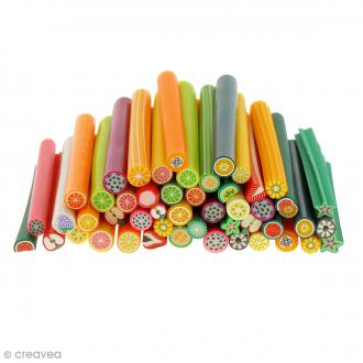 Assortiment de mini canes en pâte polymère - Fruits - 50 pcs