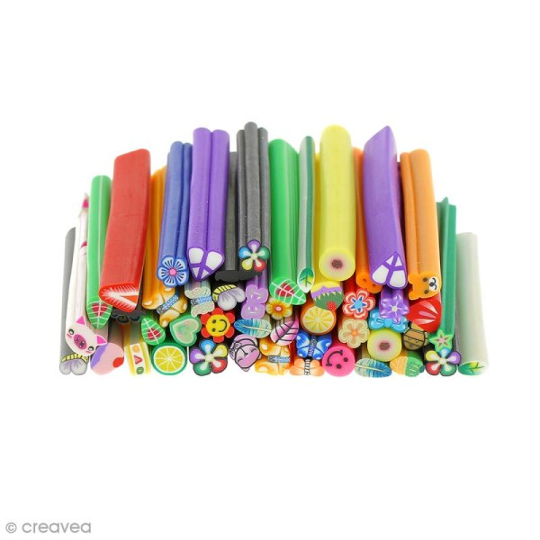 Assortiment de mini canes en pâte polymère - Divers - 50 pcs - Photo n°1