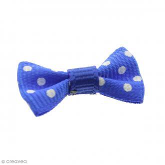 Noeud Bleu à pois blancs - 14 mm - 100 pcs