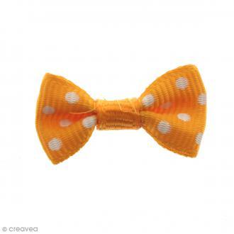 Noeud Orange à pois blancs - 14 mm - 100 pcs