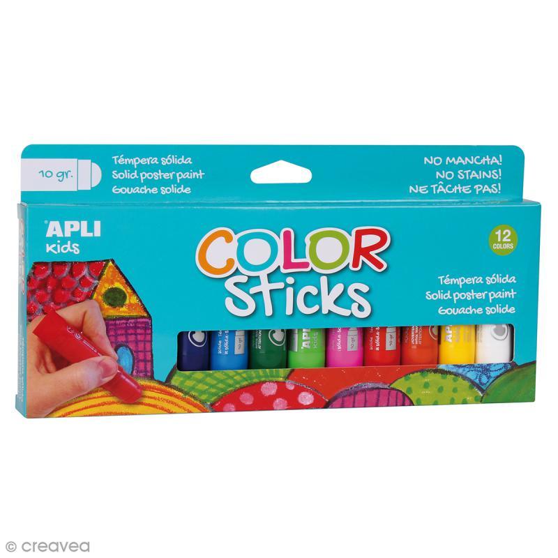 Gouache solide Color Sticks - Assortiment 12 couleurs - Photo n°1