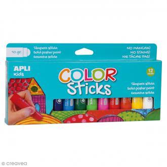Gouache solide Color Sticks - Assortiment 12 couleurs