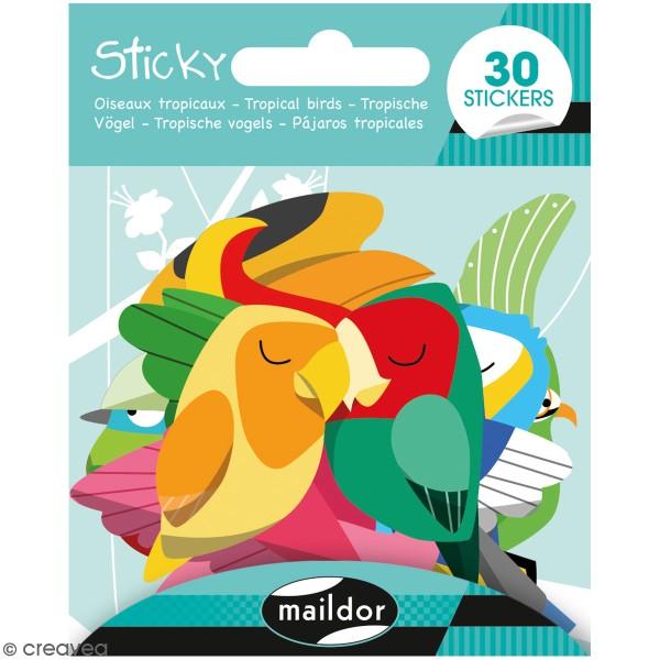 Stickers Sticky - Oiseaux tropicaux - 30 pcs - Photo n°1