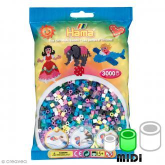 Perles Hama Midi - 5 mm - 11 couleurs - Env. 3000 pcs