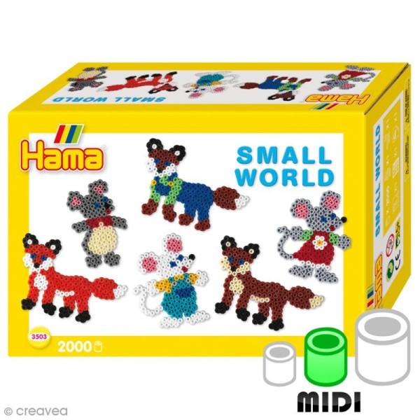 Kit Perles Hama Midi - Le petit monde des animaux - 2000 perles et accessoires - Photo n°1