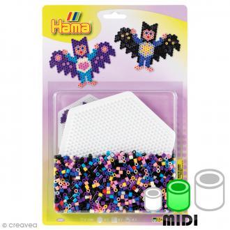 Kit Perles Hama Midi - Chauve-souris - 1100 perles et 1 plaque hexagonale
