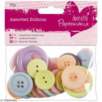 Assortiment de boutons - Pastel - 50 g