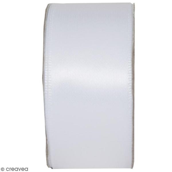 Ruban satin uni Blanc neige - 2,5 cm x 3 m - Photo n°1