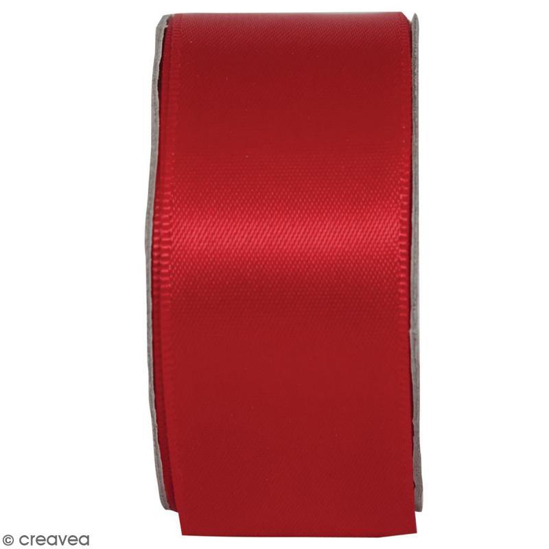 Ruban satin uni Rouge radieux - 2,5 cm x 3 m - Photo n°1