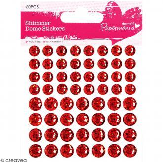 Stickers dôme à paillettes Rouge - 60 pcs