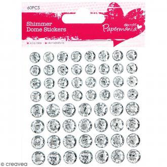 Stickers dôme à paillettes Gris argenté - 60 pcs