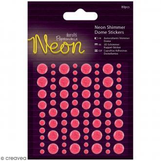Stickers dôme à paillettes Rose fluo - 80 pcs