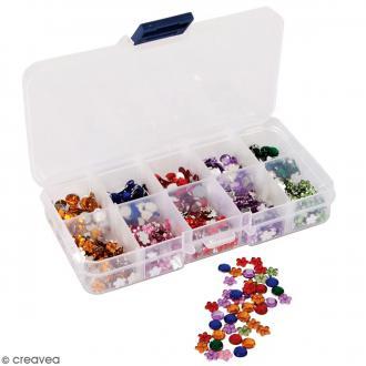 Assortiment de mini gemmes avec boîte de rangement - 750 pcs