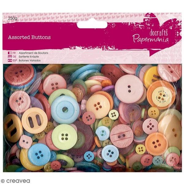 Assortiment de boutons - Couleurs vives - 250 g - Photo n°1