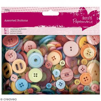 Assortiment de boutons - Couleurs vives - 250 g