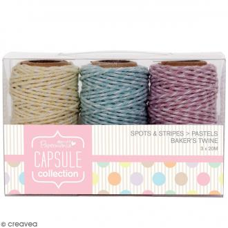 Ficelle twine Capsule Collection - Assotiment Couleurs pastels - 3 x 20 mètres