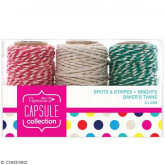 Ficelle twine Capsule Collection - Assotiment Couleurs vives - 3 x 20 mètres