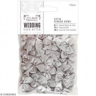 Noeud en ruban satin Wedding 2,5 cm - Gris argenté - 100 pcs