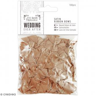 Noeud en ruban satin Wedding 2,5 cm - Doré - 100 pcs