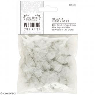 Noeud en ruban satin Wedding 2,5 cm - Gris argenté transparent - 100 pcs
