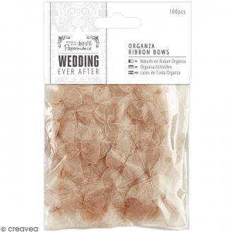 Noeud en ruban satin Wedding 2,5 cm - Doré transparent - 100 pcs