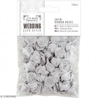 Roses Grises argentées en ruban satin - Wedding - 100 pcs