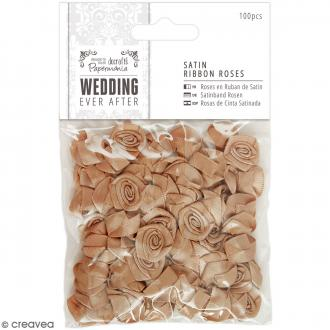 Roses Dorées en ruban organza - Wedding - 100 pcs
