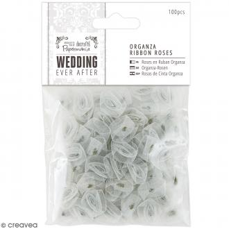 Roses Grises argentées transparentes en ruban satin - Wedding - 100 pcs