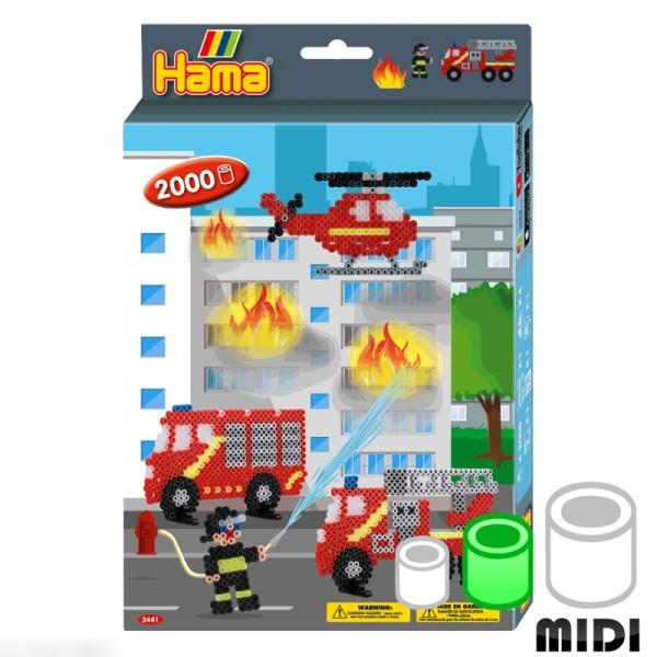 Kit Perles Hama Midi - Pompiers - 2000 perles - Photo n°1