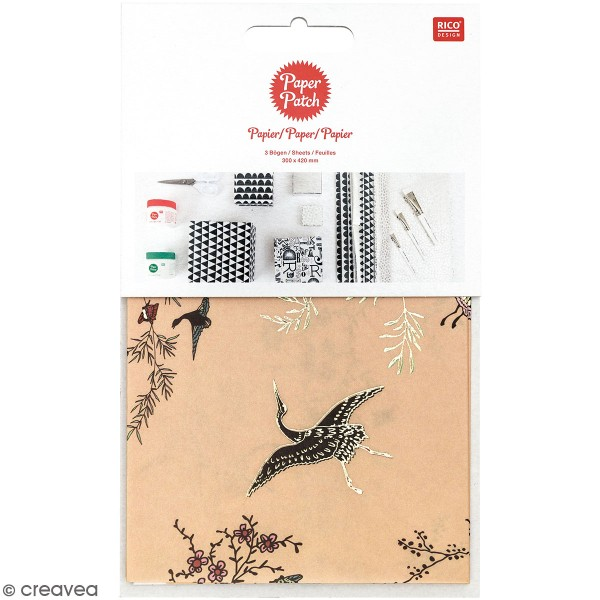 Paper Patch collection Jardin Japonais - Grues - 30 x 42 cm - 3 pcs - Photo n°1