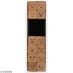 Set tampons en bois - Smiley - 12 tampons et 1 encreur