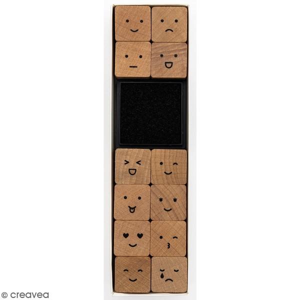 Set tampons en bois - Smiley - 12 tampons et 1 encreur - Photo n°1