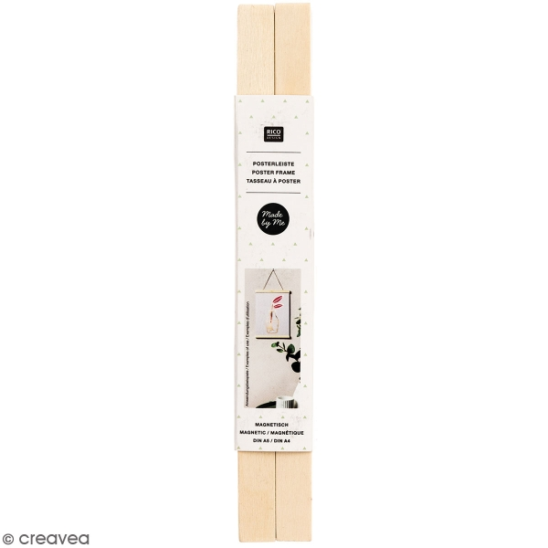 Suspension en bois Naturel pour poster - A4 - 1 pce - Photo n°1