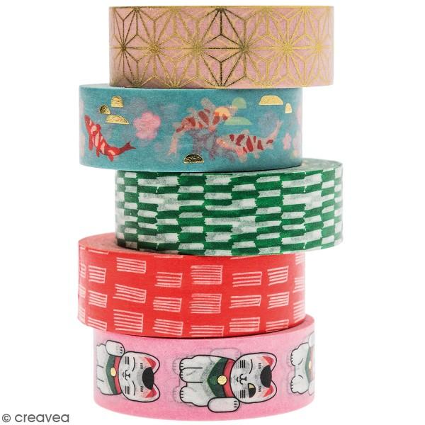 Set de masking tape - Jardin Japonais - 1,5 cm x 10 m - 5 pcs - Photo n°1