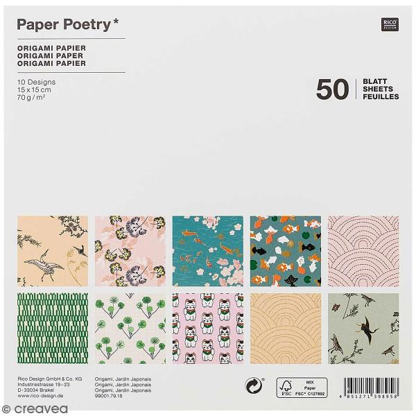 Papier origami Rico Design - Collection Jardin Japonais - 15 x 15 cm - 50 feuilles - Photo n°1