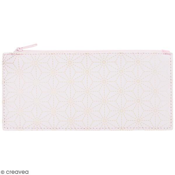 Trousse fantaisie Rico Design - Rose à motifs sashiko dorés - 21 x 10,5 cm - Photo n°1