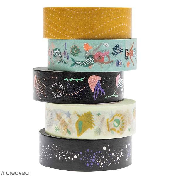 Set de masking tape - Sous la mer - 1,5 cm x 10 m - 5 pcs - Photo n°1