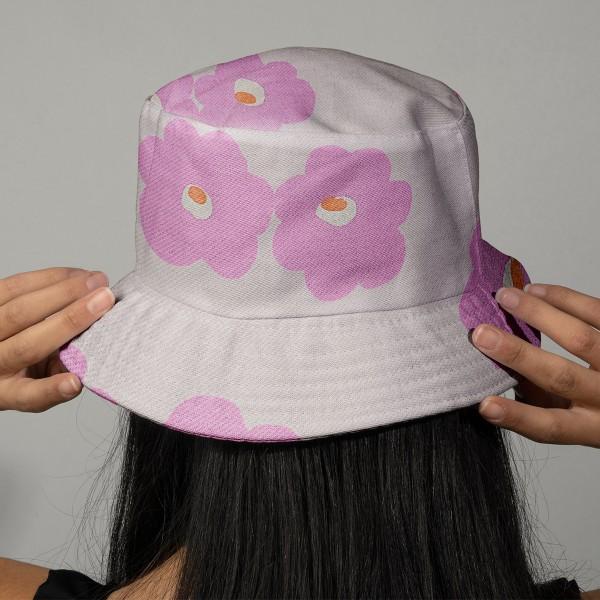 Tissu Molleton sweat à la coupe - Fleurs roses sur fond Rose clair - Par 10 cm - Photo n°2