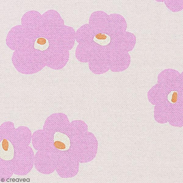 Tissu Molleton sweat à la coupe - Fleurs roses sur fond Rose clair - Par 10 cm - Photo n°1