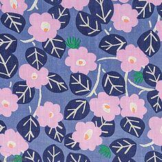 Tissu Coton léger à la coupe - Fleurs roses sur fond violet - Détails Métallisés - Par 10 cm