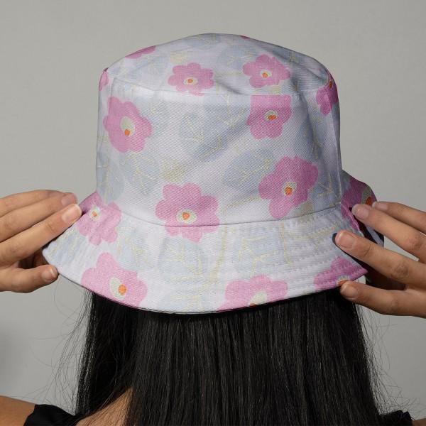 Tissu Coton léger à la coupe - Fleurs roses sur fond rose pâle - Détails Métallisés - Par 10 cm - Photo n°2