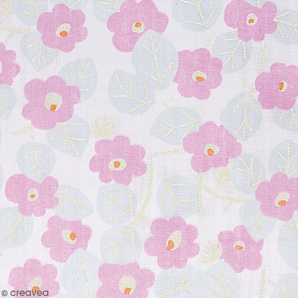 Tissu Coton léger à la coupe - Fleurs roses sur fond rose pâle - Détails Métallisés - Par 10 cm - Photo n°1