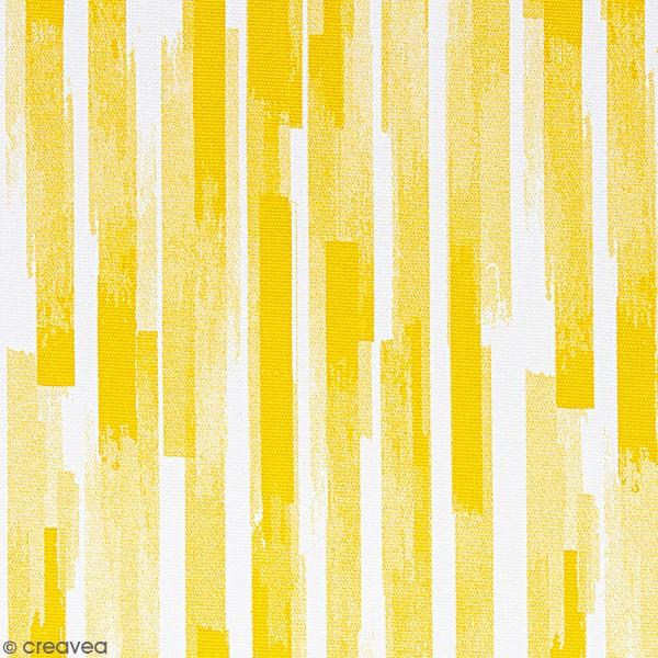 Tissu Toile coton épais à la coupe - Bandes jaunes - Fond blanc - Par 10 cm - Photo n°1