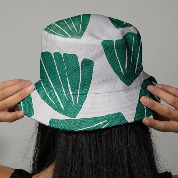 Tissu Toile coton épais à la coupe - Feuilles vertes - Fond blanc - Par 10 cm - Photo n°2