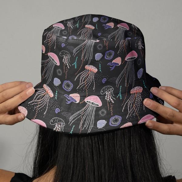 Tissu Coton léger à la coupe - Méduses sur fond noir - Détails Métallisés - Par 10 cm - Photo n°2