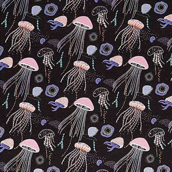 Tissu Coton léger à la coupe - Méduses sur fond noir - Détails Métallisés - Par 10 cm - Photo n°1