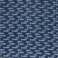 Tissu Coton léger à la coupe - Poissons bleus sur fond bleu foncé - Par 10 cm