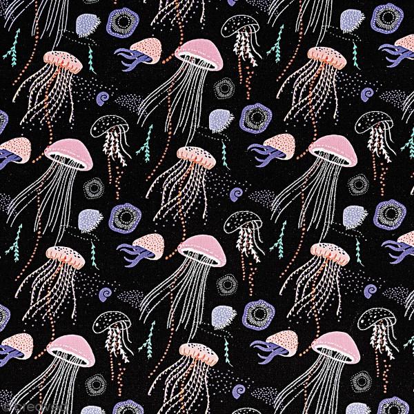 Toile cirée à la coupe - Méduses sur fond noir - Détails Métallisés - Par 10 cm - Photo n°1