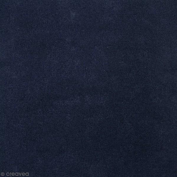 Tissu Toile coton à la coupe - Bleu foncé uni - Par 10 cm - Photo n°1